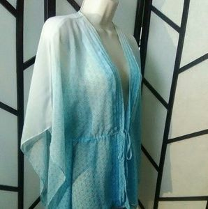 Apt 9 Sheer White Blue Women's Tie waist Blouse